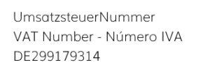 Impressum Umsatz, VAT IVA info