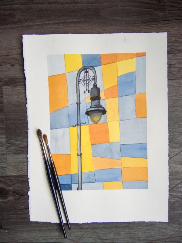 Urban Sketching Orange Teal Lamp